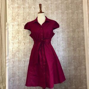 ModCloth Fervour Red Belted Shirtdress